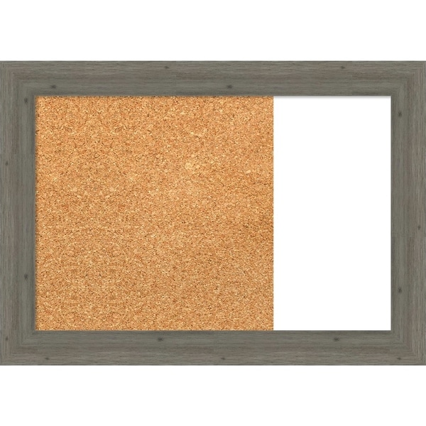 Fencepost Grey Narrow Wood Framed Cork/White Dry Erase Combo Board