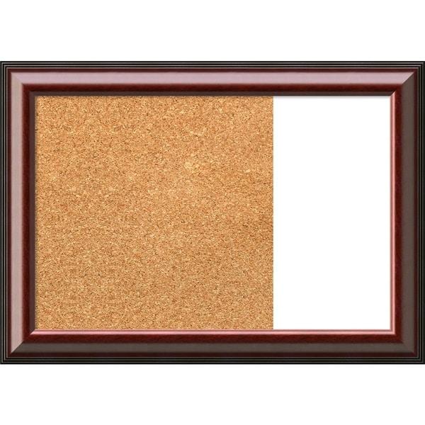 Cambridge Mahogany Wood Framed Cork/White Dry Erase Combo Board