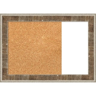 Farmhouse Brown Narrow Wood Framed Cork/White Dry Erase Combo Board