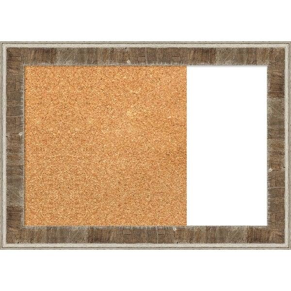 Farmhouse Brown Narrow Wood Framed Cork/White Dry Erase Combo Board