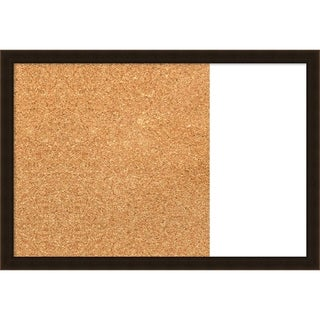 Espresso Brown Wood Framed Cork/White Dry Erase Combo Board