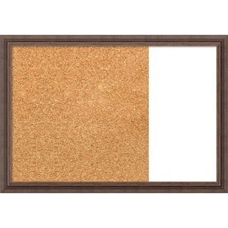 Distressed Rustic Brown Wood Framed Cork/White Dry Erase Combo Board