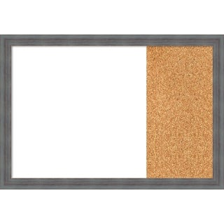 Dixie Blue Grey Rustic Wood Framed White Dry Erase/Cork Combo Board