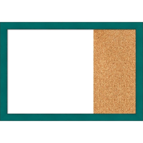 French Teal Rustic Wood Framed White Dry Erase/Cork Combo Board