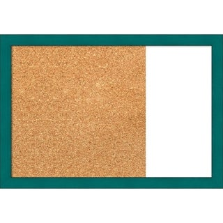 French Teal Rustic Wood Framed Cork/White Dry Erase Combo Board