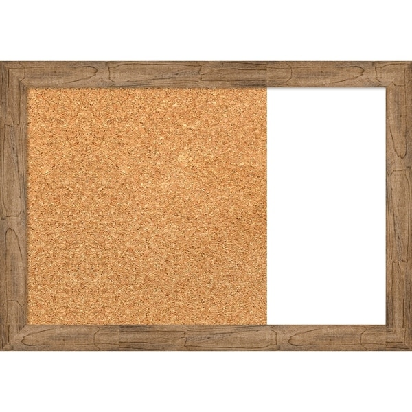 Owl Brown Narrow Wood Framed Cork/White Dry Erase Combo Board