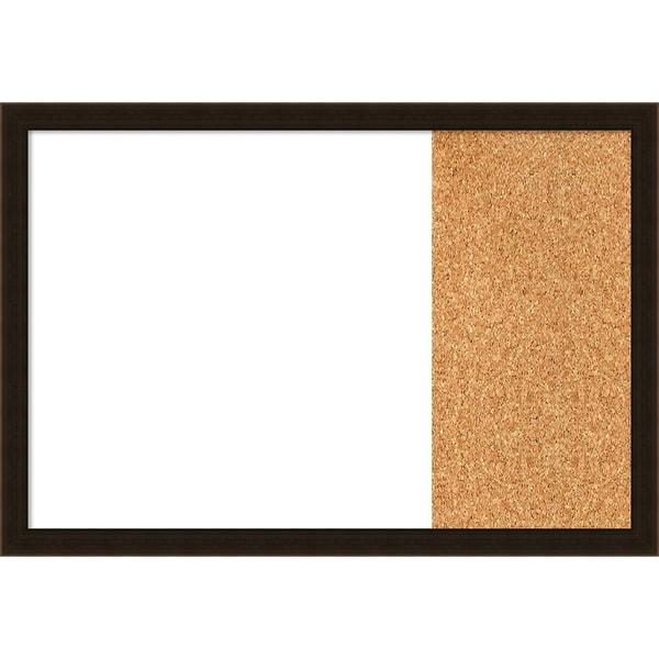 Espresso Brown Wood Framed White Dry Erase/Cork Combo Board