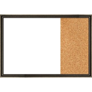 Pewter Scoop Wood Framed White Dry Erase/Cork Combo Board