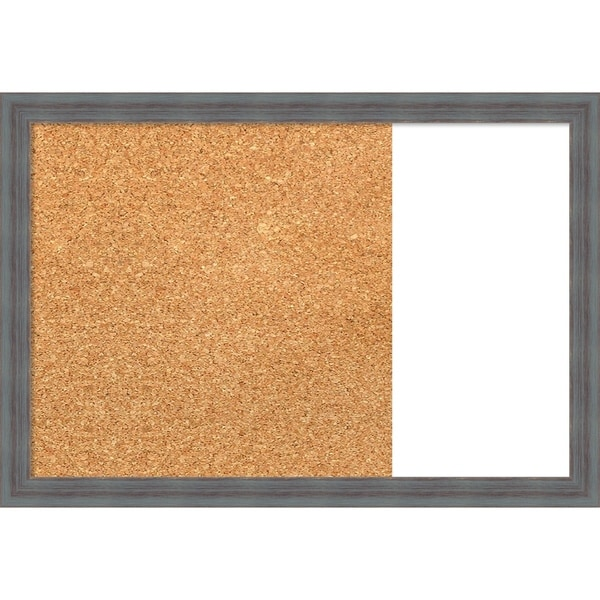 Dixie Blue Grey Rustic Wood Framed Cork/White Dry Erase Combo Board