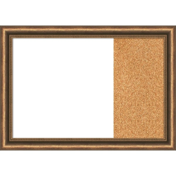 Manhattan Bronze Narrow Wood Framed White Dry Erase/Cork Combo Board