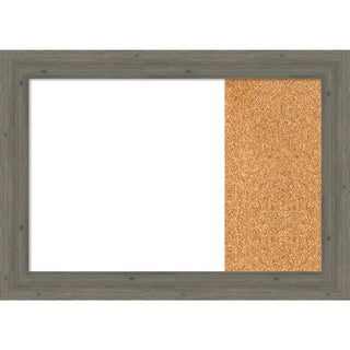 Fencepost Grey Narrow Wood Framed White Dry Erase/Cork Combo Board