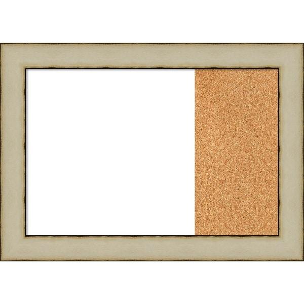 Rusted Cream Wood Framed White Dry Erase/Cork Combo Board