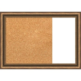Manhattan Bronze Narrow Wood Framed Cork/White Dry Erase Combo Board