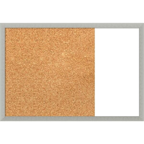 Silver Leaf Wood Framed Cork/White Dry Erase Combo Board