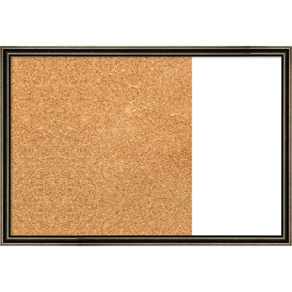 Pewter Scoop Wood Framed Cork/White Dry Erase Combo Board