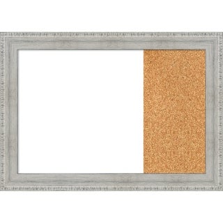 Rustic White Wash  Wood Framed White Dry Erase/Cork Combo Board