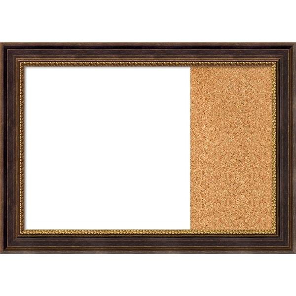 Veneto Distressed Black Wood Framed White Dry Erase/Cork Combo Board