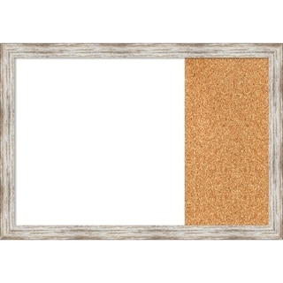 Distressed Cream Wood Framed White Dry Erase/Cork Combo Board