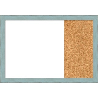 Sky Blue Rustic Wood Framed White Dry Erase/Cork Combo Board