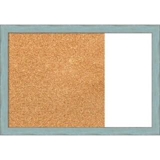 Sky Blue Rustic Wood Framed Cork/White Dry Erase Combo Board