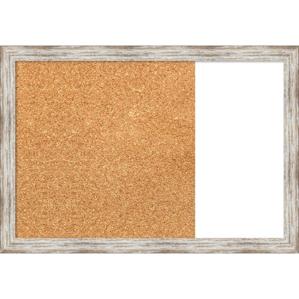 Distressed Cream Wood Framed Cork/White Dry Erase Combo Board