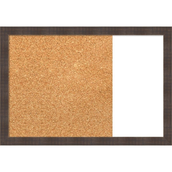 Whiskey Brown Rustic Wood Framed Cork/White Dry Erase Combo Board