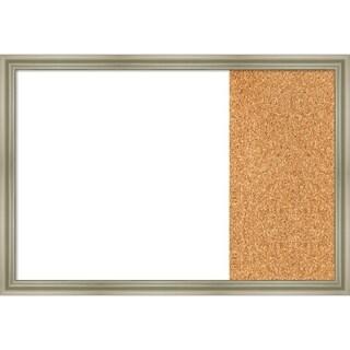 Warm Silver Swoop Wood Framed White Dry Erase/Cork Combo Board