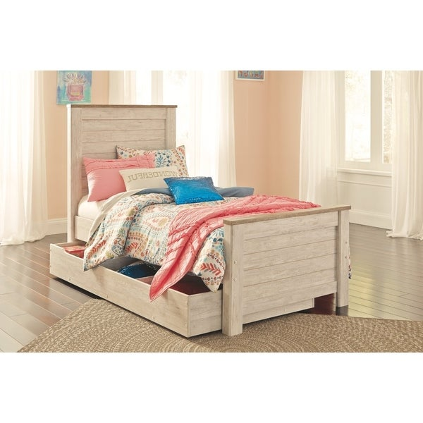 Willowton Whitewash Panel Bed with Trundle Storage