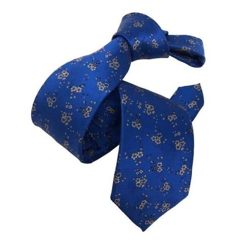 DMITRY Men's Royal Blue Patterned Italian Silk Tie
