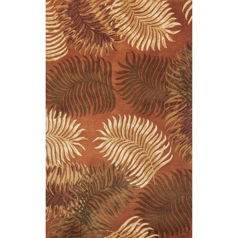 Domani Camila Tropical Rust Fern Hand-tufted Wool Area Rug