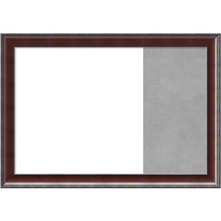 Country Walnut Wood Framed White Dry Erase/Magnetic Combo Board