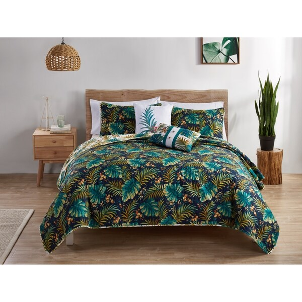 Carson Carrington Trolltunga Reversible Tropical Quilt Set