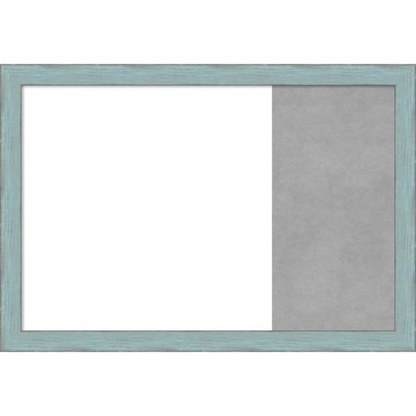 Sky Blue Rustic Wood Framed White Dry Erase/Magnetic Combo Board
