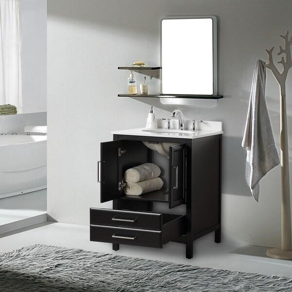"Vanity Art 24"" Single Sink Bathroom Vanity Set Soft-Clothing Doors 1 Shelf 2 Drawers with White Cultured Marble Top ( Espresso)"