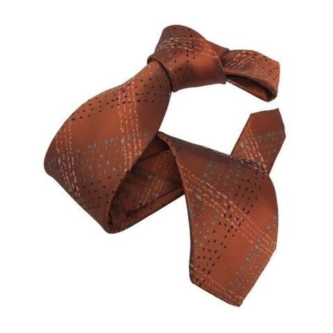 DMITRY Men's Rust Orange Patterned Italian Silk Tie