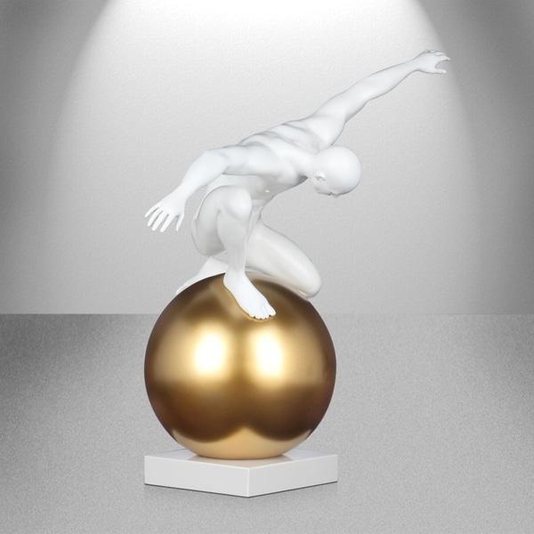 Equilibrium & Control- Matt White and Gold Sculpture