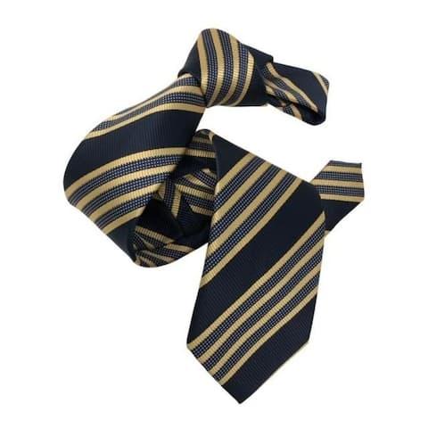 DMITRY Men's Yellow/Navy Striped Italian Silk Tie