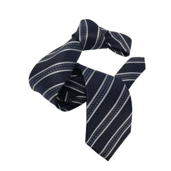 DMITRY Mens Navy Striped Italian Silk Tie