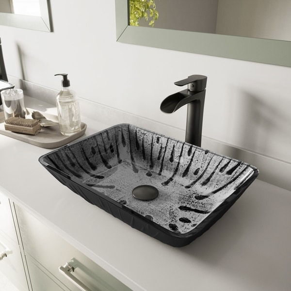 VIGO Plutonian Glass Vessel Bathroom Sink with Niko Vessel Faucet in a Matte Black Finish, Pop-Up Drain Included