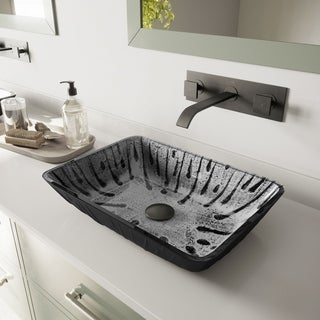 VIGO Plutonian Glass Vessel Bathroom Sink with Titus Wall-Mount Faucet in a Matte Black Finish, Pop-Up Drain Included