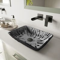 VIGO Plutonian Glass Vessel Bathroom Sink with Atticus Wall-Mount Faucet in a Matte Black Finish, Pop-Up Drain Included