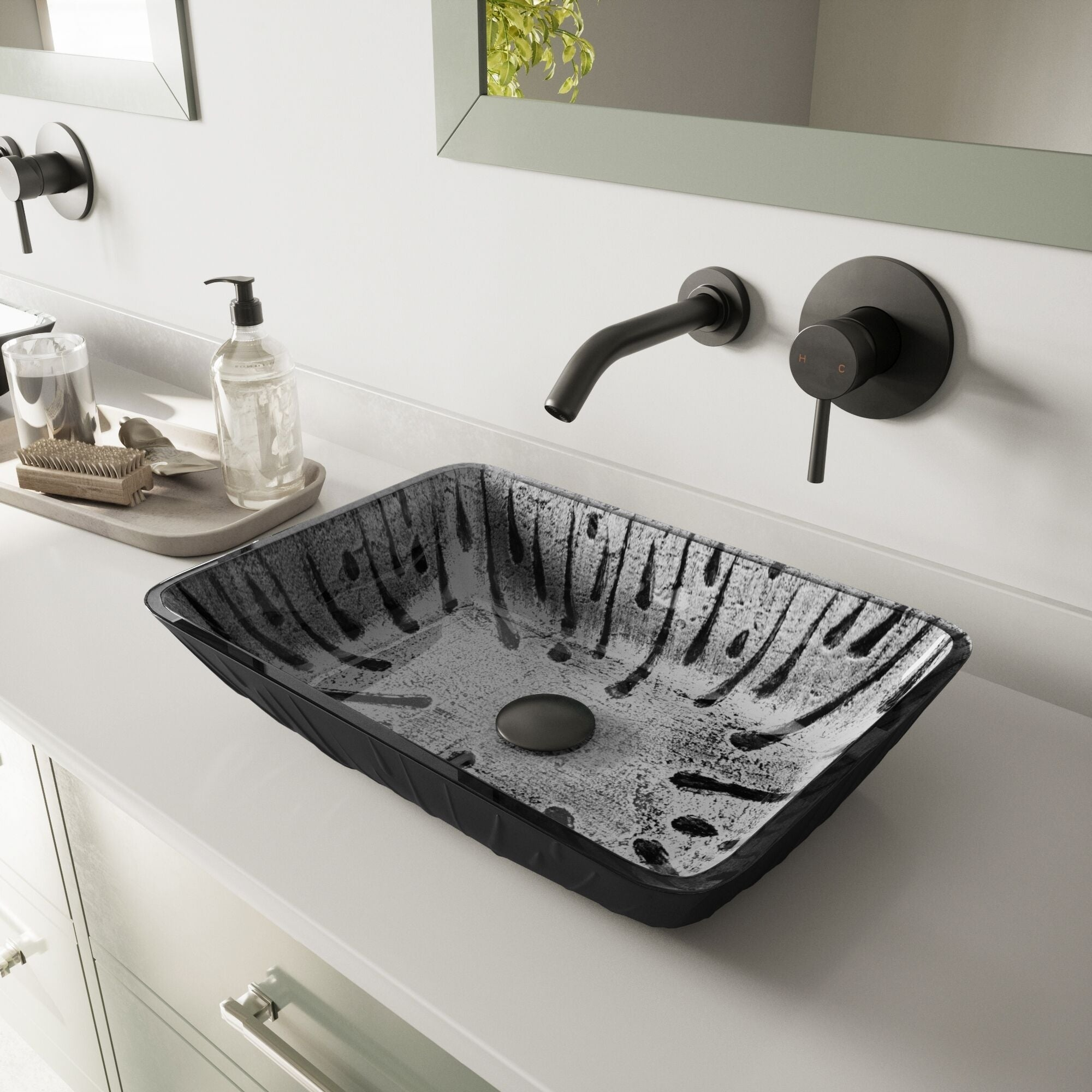 Vigo Plutonian Gl Vessel Bathroom Sink With Olus Wall Mount Faucet In A Matte Black Finish Pop Up Drain Included