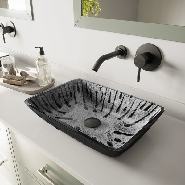 VIGO Plutonian Glass Vessel Bathroom Sink with Olus Wall-Mount Faucet in a Matte Black Finish, Pop-Up Drain Included