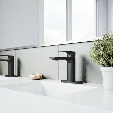 VIGO Davidson Single Hole Bathroom Faucet with Deck Mount in Matte Black