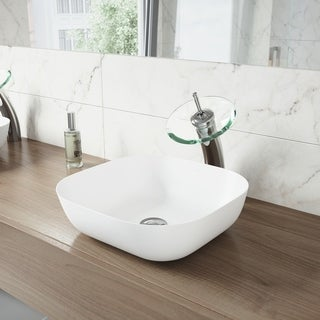 VIGO Camellia Matte Stone Bathroom Sink Set with Waterfall Faucet
