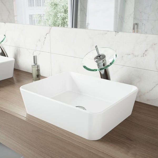 VIGO Marigold Matte Stone Bathroom Sink Set with Waterfall Faucet