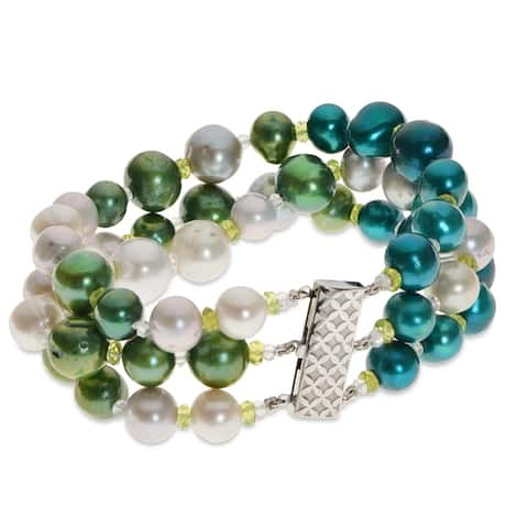 PearLustre by Imperial Sterling Silver Ombre Freshwater Pearl and Gemstone Bracelet