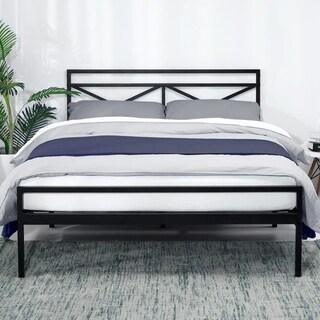 Presidio 14 Inch Heavy Duty Metal Platform Bed with Headboard Mattress Foundation - Crown Comfort