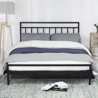 Crown Comfort Mission Black Steel 10-inch Platform Bed with Headboard Mattress Foundation