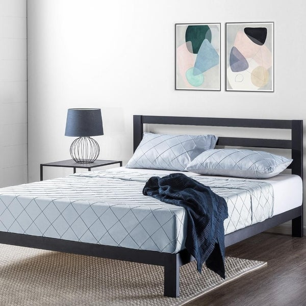 Shop 10 Inch Metal Platform Bed With Headboard Wooden Slat
